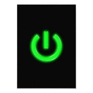 Neon Green Flourescent Power Button Card