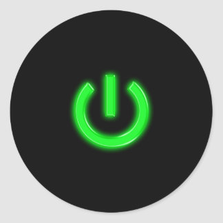 Neon Green Flourescent Power Button Classic Round Sticker