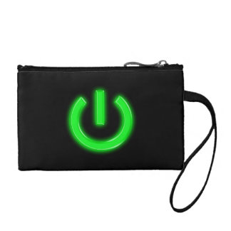 Neon Green Flourescent Power Button Coin Purse