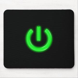 Neon Green Flourescent Power Button Mouse Pad