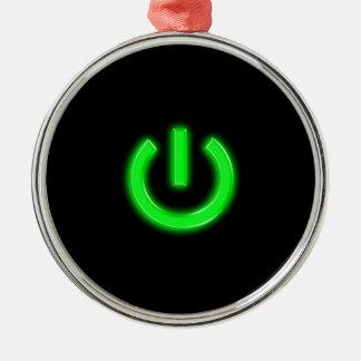 Neon Green Flourescent Power Button Christmas Tree Ornament