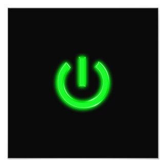 Neon Green Flourescent Power Button Photo Print