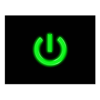 Neon Green Flourescent Power Button Postcard
