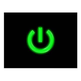Neon Green Flourescent Power Button Postcard