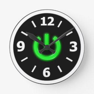 Neon Green Flourescent Power Button Round Clock