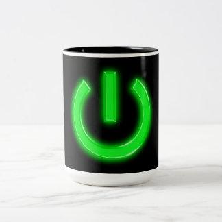 Neon Green Flourescent Power Button Two-Tone Coffee Mug