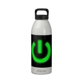 Neon Green Flourescent Power Button Water Bottles