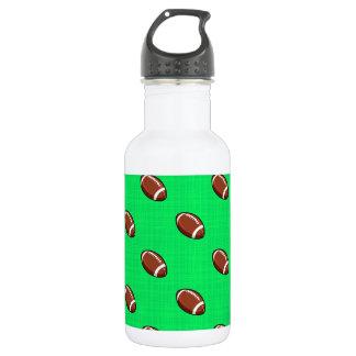 Neon Green Football Pattern Water Bottle