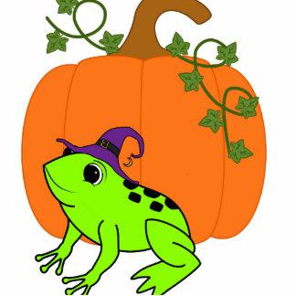 Neon Green Frog Witch with Halloween Pumpkin Photo Sculpture Button