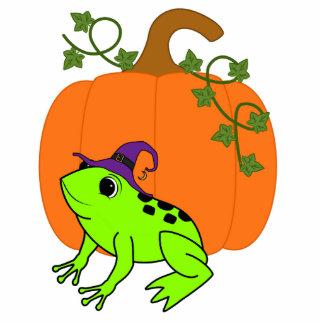 Neon Green Frog Witch with Halloween Pumpkin Photo Sculpture Keychain