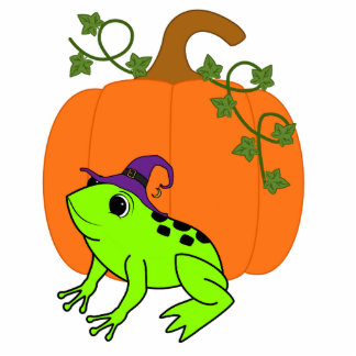 Neon Green Frog Witch with Halloween Pumpkin Photo Sculpture Magnet