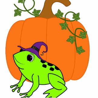 Neon Green Frog Witch with Halloween Pumpkin Photo Sculpture Ornament