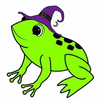 Neon Green Frog with Witch Hat & Moon Charm Photo Sculpture Button