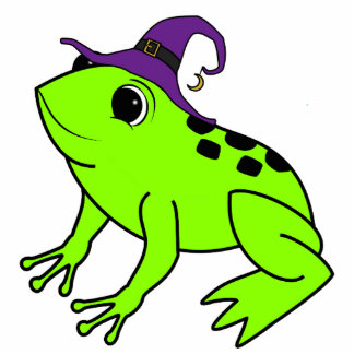 Neon Green Frog with Witch Hat & Moon Charm Photo Sculpture Keychain