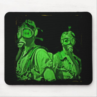 Neon Green Gas Masks Mouse Pad
