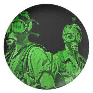 Neon Green Gas Masks Party Plates
