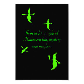 """""""Neon Green Ghosts in Flight [a]"""" Halloween Party Card"""