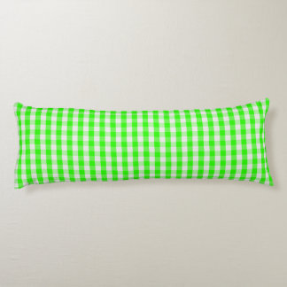 Neon Green Gingham Pattern Body Pillow