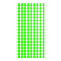 Neon Green Gingham Pattern Card