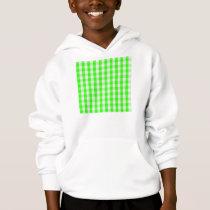 Neon Green Gingham Pattern Hoodie