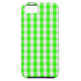 Neon Green Gingham Pattern iPhone SE/5/5s Case