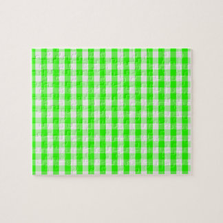 Neon Green Gingham Pattern Jigsaw Puzzle