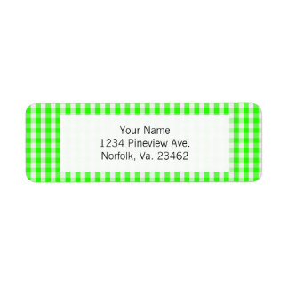 Neon Green Gingham Pattern Label