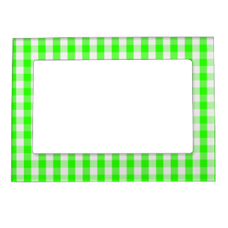 Neon Green Gingham Pattern Magnetic Frame