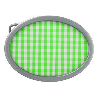 Neon Green Gingham Pattern Oval Belt Buckle