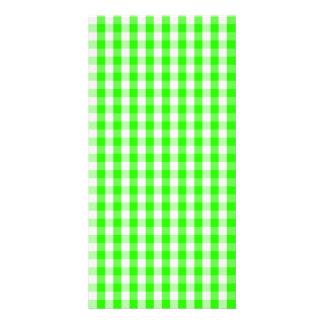 Neon Green Gingham Pattern Photo Card