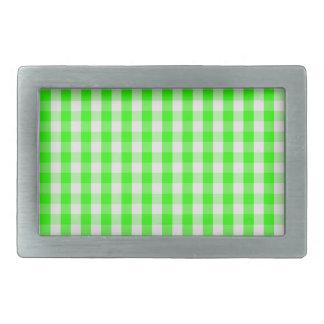 Neon Green Gingham Pattern Rectangle Belt Buckles