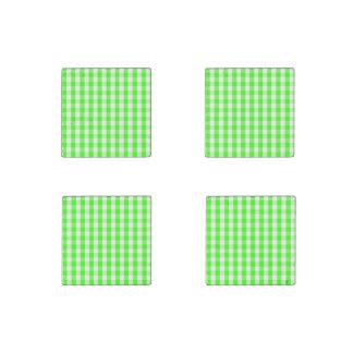 Neon Green Gingham Pattern Stone Magnet