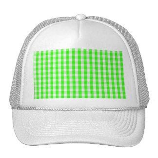 Neon Green Gingham Pattern Trucker Hat
