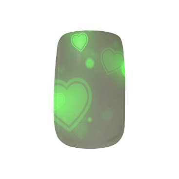 Valentines Themed Neon Green Glitter Bubble Hearts Minx Nail Wraps