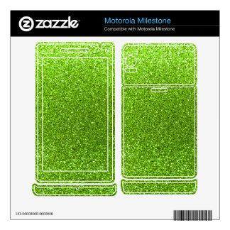 Neon green glitter motorola milestone skin
