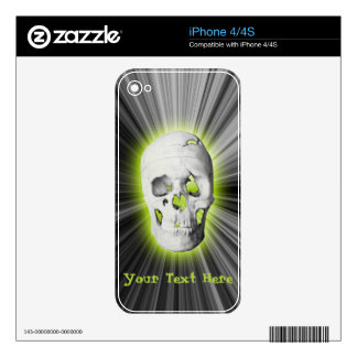 Neon Green Glowing Skull iPhone 4/4s Skin Skin For iPhone 4S