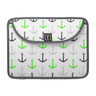 Neon Green, Gray, Anchors; Nautical MacBook Pro Sleeve