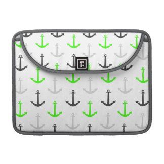 Neon Green, Gray, Anchors; Nautical MacBook Pro Sleeve