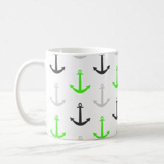 Neon Green, Gray, Anchors; Nautical Mugs