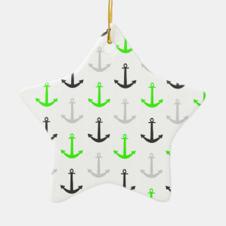 Neon Green, Gray, Anchors; Nautical Double-Sided Star Ceramic Christmas Ornament