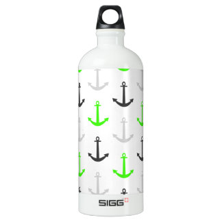 Neon Green, Gray, Anchors; Nautical Water Bottle