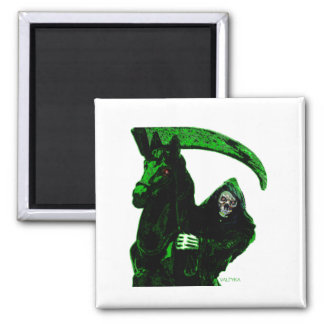 Neon Green Grim Reaper Horseman Series by Valpyra 2 Inch Square Magnet