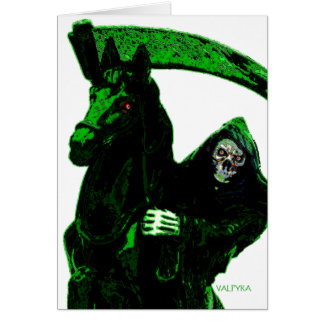 Neon Green Grim Reaper Horseman Series by Valpyra Card