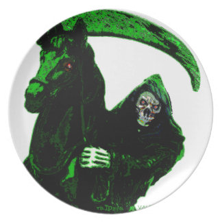 Neon Green Grim Reaper Horseman Series by Valpyra Melamine Plate