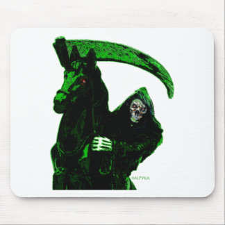Neon Green Grim Reaper Horseman Series by Valpyra Mouse Pad