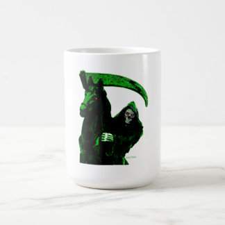 Neon Green Grim Reaper Horseman Series by Valpyra Classic White Coffee Mug
