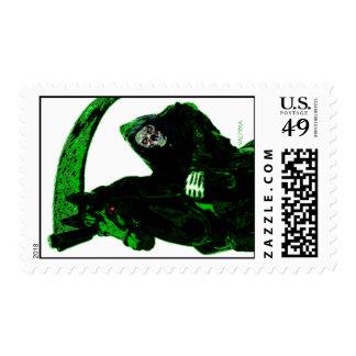 Neon Green Grim Reaper Horseman Series by Valpyra Postage Stamp
