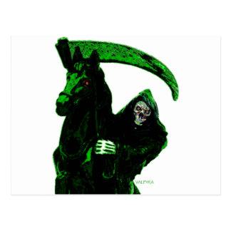 Neon Green Grim Reaper Horseman Series by Valpyra Postcard
