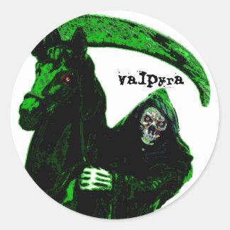 Neon Green Grim Reaper Horseman Series by Valpyra Classic Round Sticker