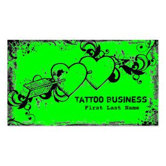 Neon green grunge heart tattoo business cards